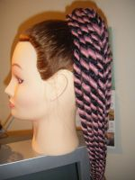 Pink black candy cane dreads by MadeByJanine