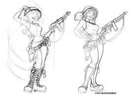 Sketchbook(BattleGirlz Army sketch progression) by dagracey