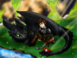 Hiccup Toothless relax by GamblingFoxinaHat