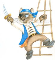 On the Ropes - Pirate Cat by bigcatdesigns