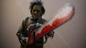 Looking at me I'm leatherface again!!!!! by slasherman