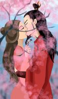 Kiss in Sakura by Lady-Pirate