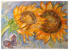 TWO SUNFLOWERS AND A BUTTERFLY by GeaAusten