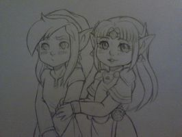 Zelda And Link by QuackingMoron
