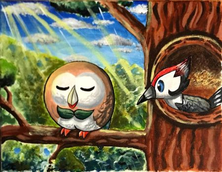 Rowlet and Pikipek by HandxPalm