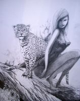 Jennih Jungle Girl and Her Leopard by Kevin Banic by AnulkaD