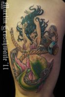 Mermaid and Anchor Tattoo by mxw8