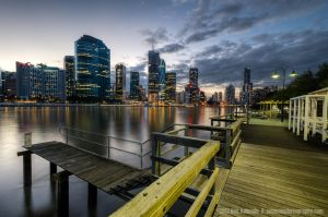 The Kangaroo Point Boardwalk, Brisbane, Austra by Ashmolephotography