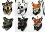 Wolf and Fox Bottle Cap Necklaces by LeiliaK