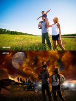 Surviving Armageddon Before and After by BigRedCurlyGuy