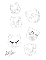 Some kitten faces - Linework by ErikServin