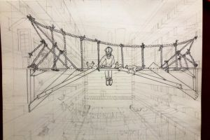 A bridge in the concrete jungle (sketch) by molingirl
