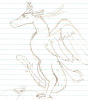 A feathered wyvern by CelticWolfie