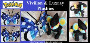 Polar Vivillon and Luxray Plushies - Commission by Forge-Your-Fantasy