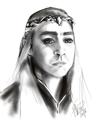 Thranduil - Lee Pace b/w by Anislayer