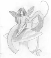 fairy with snake on mushe by emmacairnmccallum