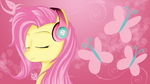 Fluttershy with headphones (red) by AvareQ