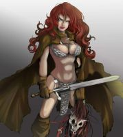 Red-sonja-in-brown-cape-and-scale-armor-photo- by talha122