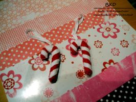 Candy Canes - felt Christmas ornaments by nezstorm
