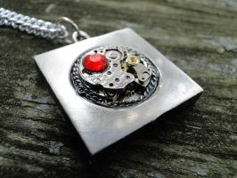 Square Silver Steampunk Necklace by TheClockworkCrow