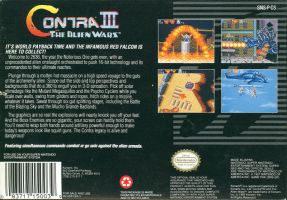 Contra 3: The Alien Wars Back Cover by derrickthebarbaric