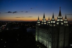 Salt lake Temple Sundown by Caloxort