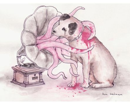 gramophone dog octopus by tomsacoolcat