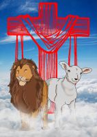 jesus and the lion and the lamb by ichigo-26