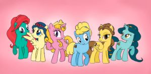 Disney princess ponies by Aldriona