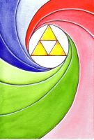 Triforce - Watercolor Exercise 1 by Forest-Priestess