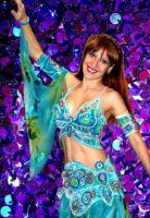Blue butterfly belly dance costume with swarovski by SOFIAMETALQUEEN