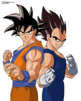 Goku and Vegeta by 3xcrazy