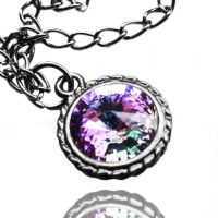 Swarovski Vitrail Light Crystal Gunmetal Necklace by crystaland