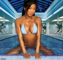Giantess Gail Kim indoor pool by lowerrider