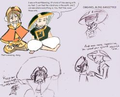 Switched-Toph and Aang by Mumy-chan