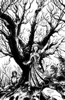 The Hanging Tree - splash page - inks by RONJOSEPH-ARTIST