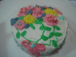 Royal icing flower cake by chrissie-ness