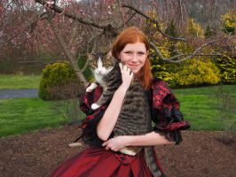 Red Dress and Cat by RobertBeatty