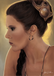 Slave Leia - Mini Portrait by JennDePaola