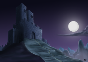 Digital Painting Exercise 3: Castle on the Mount. by a3dkid