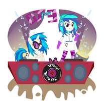 EG DJ pon-3 Vinyl Scratch (Pony and EG) by Arteses-Canvas