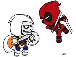 Little Deadpool vs Little Taskmaster by josh308