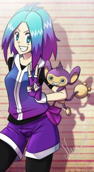 Aipom and Trainer by NarumyNatsue