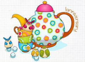 Bunnehs + Owlies tea party-on by Landale
