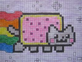 NYAN CAT ON GRAPHING PAPER! X3 by Eeneehaww30-ph