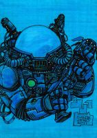 Space Marine Sketch Card by JASONS21