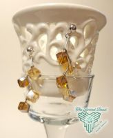 Amber and Gold Zig Zag Earrings by TheSortedBead