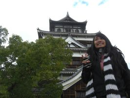 Hiroshima Castle and girl by blindbutblink