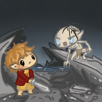 Chibi: Hobbit Scene- Bilbo and Gollum by Ijen-Ekusas