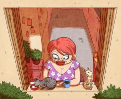 Cats and neighbors : Miss S. by yllya